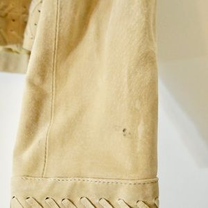 Vintage Jackets & Coats - Vintage Genuine Tan Suede Cropped Fringed Jacket